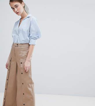 Asos Design DESIGN wide leg pants with button front