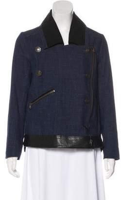 Veronica Beard Leather-Trimmed Denim Jacket