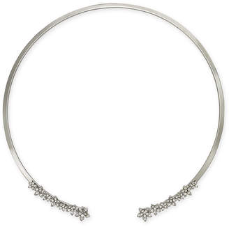 """INC International Concepts Silver-Tone Crystal Cluster Flower 17"""" Cuff Collar Necklace, Created for Macy's"""