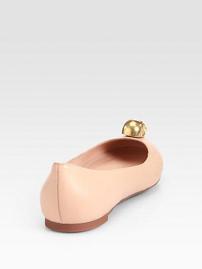 Alexander McQueen Margareth Skull Leather Ballet Flats