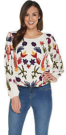 Laurie Felt Embroidered Boho Style RoundNeck Blouse