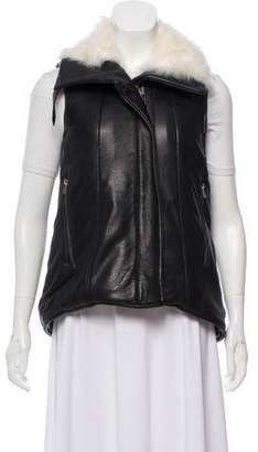 Helmut Lang Fur-Trimmed Leather Vest