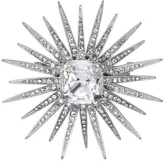 Kenneth Jay Lane Silver Crystal Starburst With Crystal Center Pin