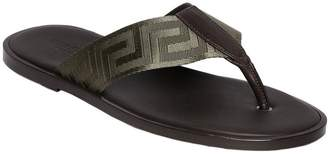 Versace Greek Webbing Leather Flip Flops