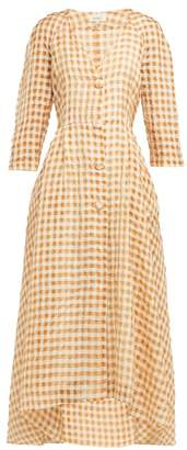 Isa Arfen Amalfi Gingham Organza Dress - Womens - Brown Multi