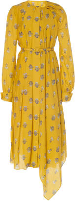 Oscar de la Renta Drape Front Printed Midi Day Dress