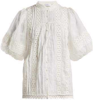 Zimmermann Castile embroidered balloon-sleeve blouse