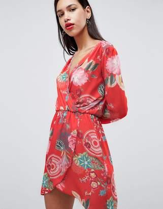 Love Printed Wrap Dress