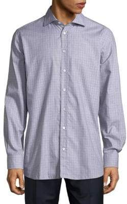 Luciano Barbera Checkered Cotton Button-Down Shirt