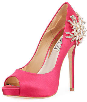 Badgley Mischka Marcia Embellished Satin Peep-Toe Pump