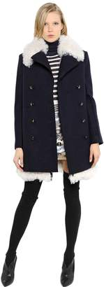 Sonia Rykiel Shearling & Boiled Wool Coat