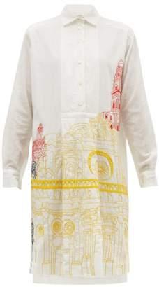 Kilometre Paris - Basilica De Santa Croce Khadi Cotton Shirtdress - Womens - White Print