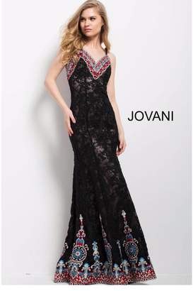 Jovani Embroidered Lace Gown