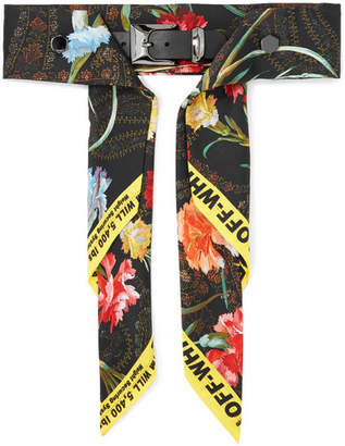 Off-White Floral-print Satin And Leather Waist Belt - Black