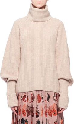 Altuzarra Turtleneck Blouson-Sleeve Rib-Knit Cashmere Sweater