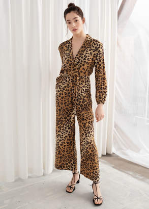 And other stories Long Sleeve Leopard Print Jumpsuit