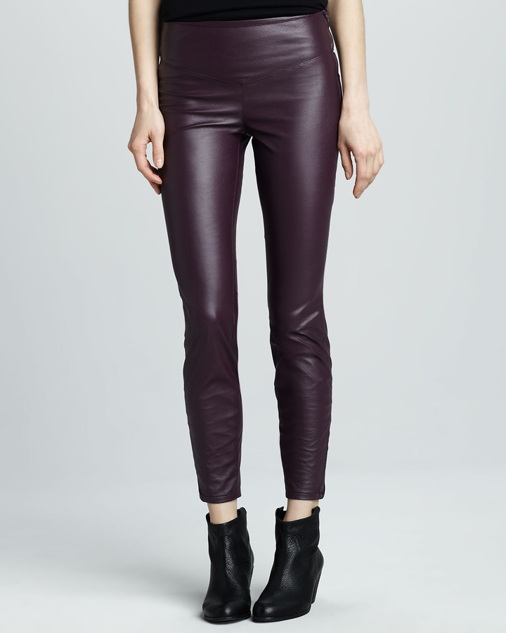 Blank Faux-Leather Leggings, Plum