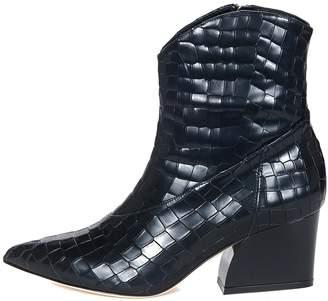Tibi Dylan Croc Embossed Boot in Black