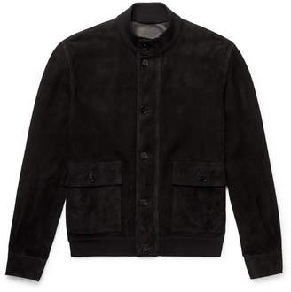 James Perforated Suede Bomber Jacket