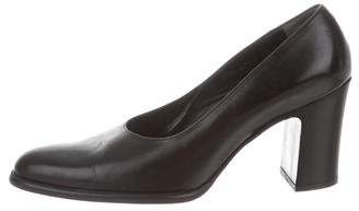 Robert Clergerie Leather Round-Toe Pumps