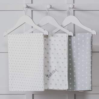 That's mine personalised embroidered gifts Personalised Three Pack Grey Baby Muslin Squares