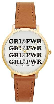 Rebecca Minkoff Major Gold Tone Almond Strap Watch, 35Mm