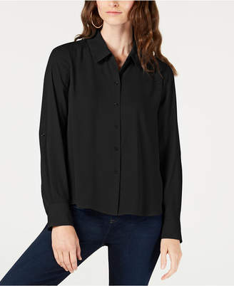 INC International Concepts I.n.c. Roll-Tab-Sleeve High-Low Shirt