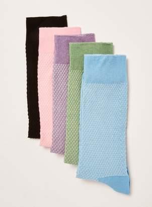 Topman Assorted Colour Waffle Socks 5 Pack
