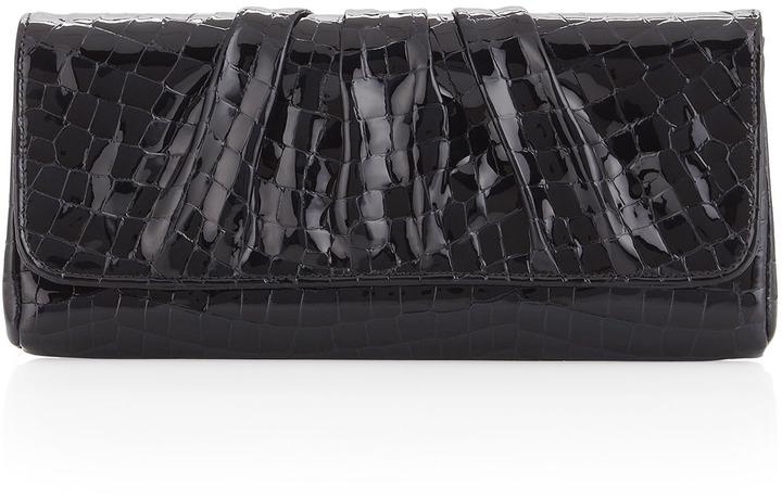 Lauren Merkin Caroline Patent Fold-Over Clutch, Black