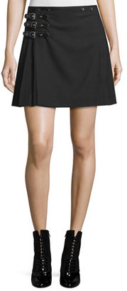McQ Alexander McQueen Buckled Pleated A-Line Skirt, Black $575 thestylecure.com