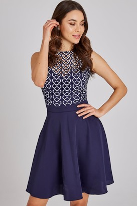 ec11825433 Little Mistress Connie Navy Geo-Lace Mini Skater Dress
