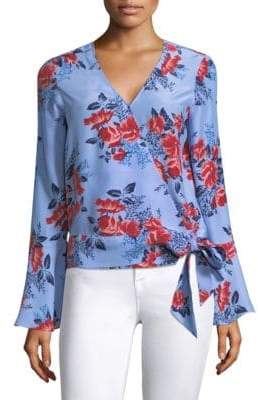 Parker Isabella Floral Bell-Sleeve Wrap Blouse