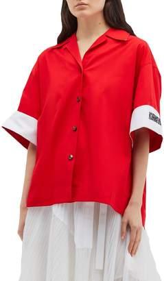 Calvin Klein Colourblock logo embroidered cuff boxy shirt