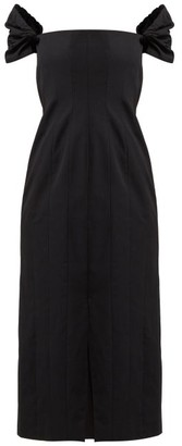 Brock Collection Odilia Off The Shoulder Cotton Midi Dress - Womens - Black
