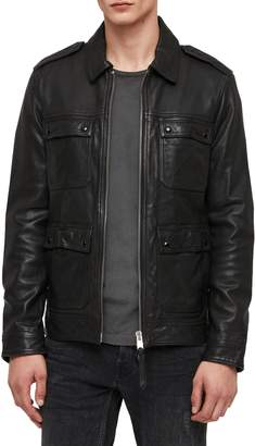 AllSaints Kage Regular Fit Leather Jacket