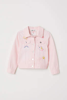 H&M Denim jacket with appliques - Pink