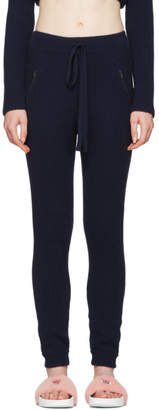 Baja East Navy Cashmere Ribbed Lounge Pants