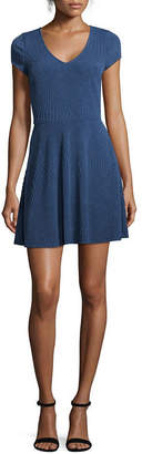 Trixxi Short Sleeve Skater Dress-Juniors