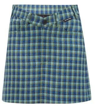 Balenciaga V Waist Checked Wool Mini Skirt - Womens - Blue Multi