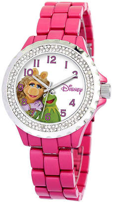 Disney Muppets Womens Pink Enamel Watch with Crystals