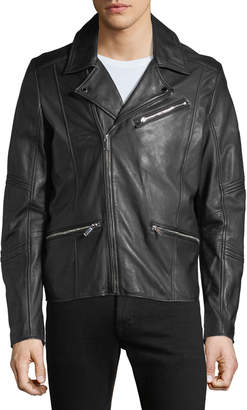 Karl Lagerfeld Paris Men's Leather Zip Pocket Moto Jacket