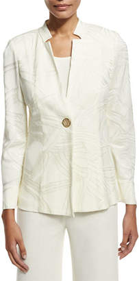 Misook Notch-Collar Ribbon-Print Jacket, Cream, Petite