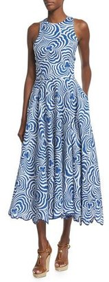Ralph Lauren Collection Raquel Swirl-Print Linen Dance Dress, Navy/Natural White $3,990 thestylecure.com