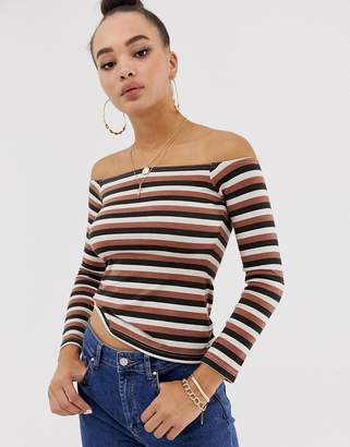 Missguided bardot long sleeve top in brown stripe