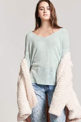 Forever 21 Semi-Sheer Slub-Knit V-Neck Sweater