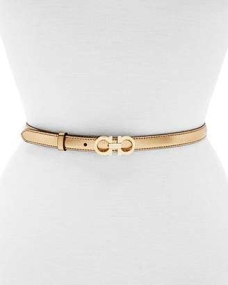 Salvatore Ferragamo Double Gancini Icona Slim Leather Belt