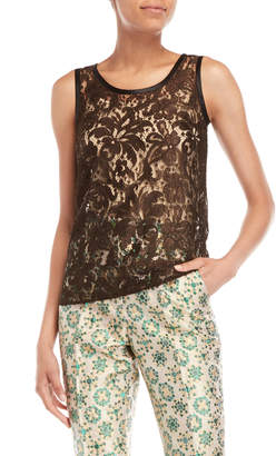 Dolce & Gabbana Brown Lace Sleeveless Top