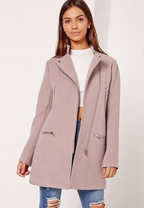 Collarless Biker Coat Lilac $132 thestylecure.com