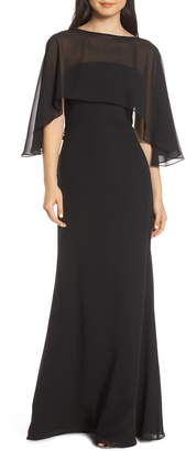 Paige Hayley Occasions Strapless Chiffon Evening Dress with Cape