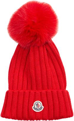 315d31f924b Moncler Genuine Fox Fur Pom Wool Beanie